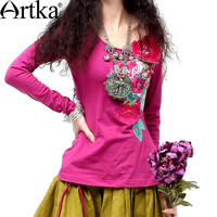 Artka 2014 Spring Hot Cotton Three Dimensional Applique Embroidered Long Sleeve Skin Friendly Cotton T Shirt