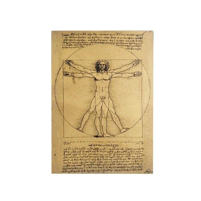 Vintage Style Manuscripts Vitruvian Man Vintage Kraft Paper Movie ...