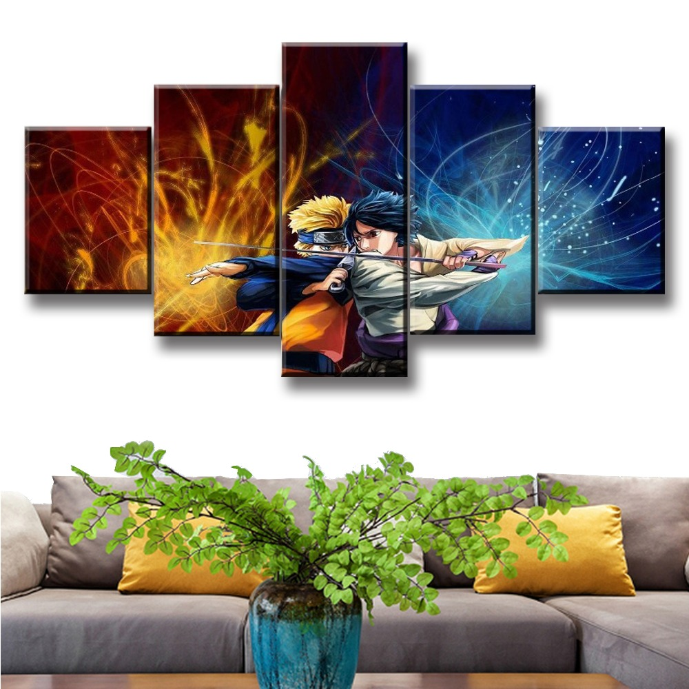New Hot Sel 5 Pcs Modular Home Decor Wall Art Naruto Anime Paintings on Canvas for Decorations Artwork