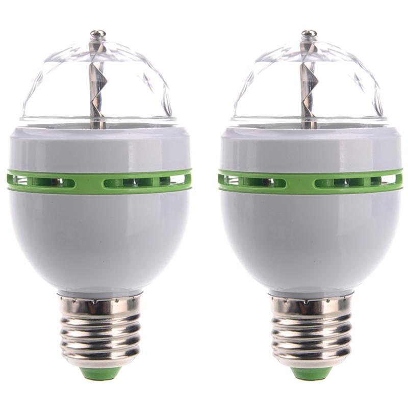 2pcs E27 3W AC85-260V 3-LED LED Stage Light Christmas Colorful Auto Rotating RGB Bulb Party Effect Lamp Disco Magic Ball