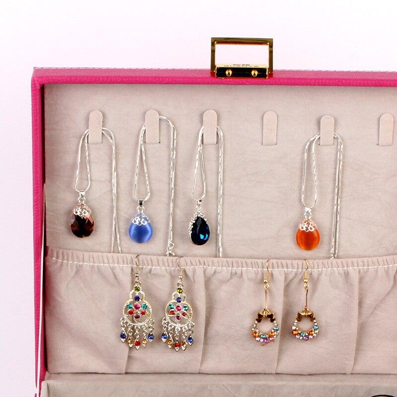 Guanya de doble capa de gran capacidad de regalo caja de joyería accesorios de terciopelo adornos de exhibición organizador de almacenamiento cajas de transporte - 3