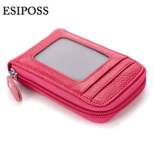 esiposs Genuine Leather Women Card Holder Wallets Coin Pocket Carteira Feminina Women Purse Photo Holder(China)