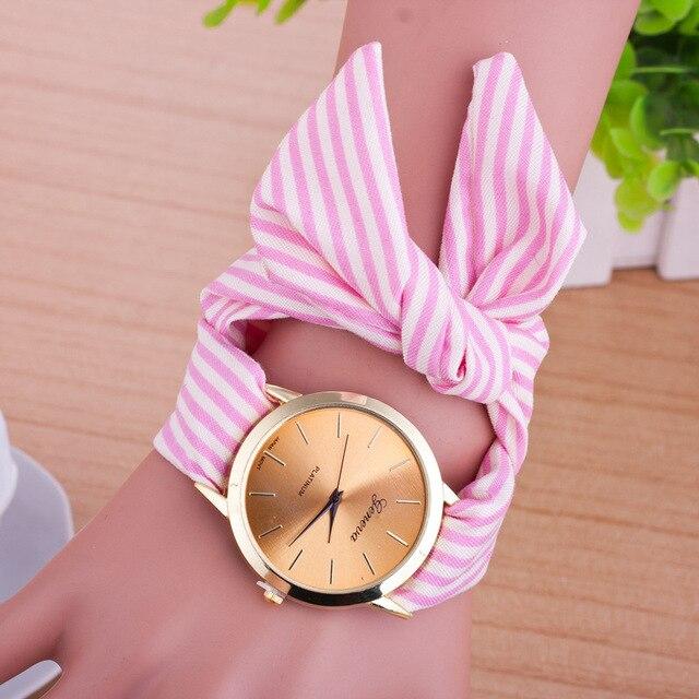 2018 New Women Creative Quartz Watch Clock Women's Fashion Casual Fabric Bracele