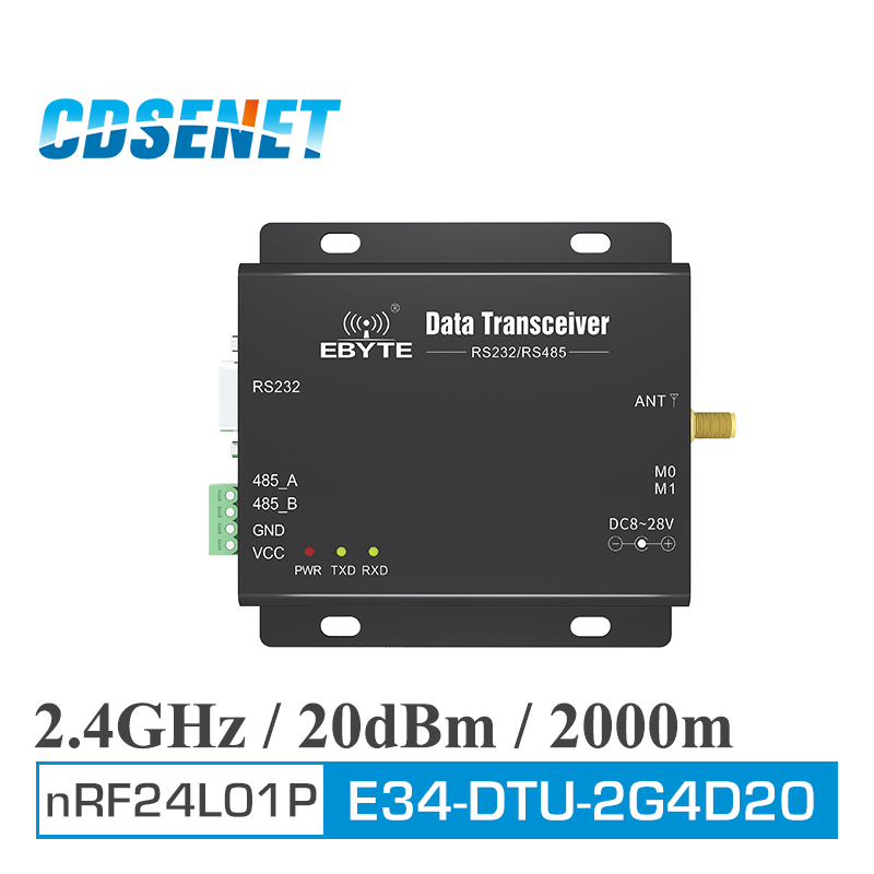 1Pc 2 4GHz RS485 RS232 Converter Wireless Transceiver Module E34 DTU 2G4D20 2 4 ghz GPRS DTU rf Transmitter Receiver in Fixed Wireless Terminals from Cellphones Telecommunications