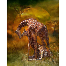 5D diy diamond painting giraffe full square embroidery mosaic cross stitch needleworks H748