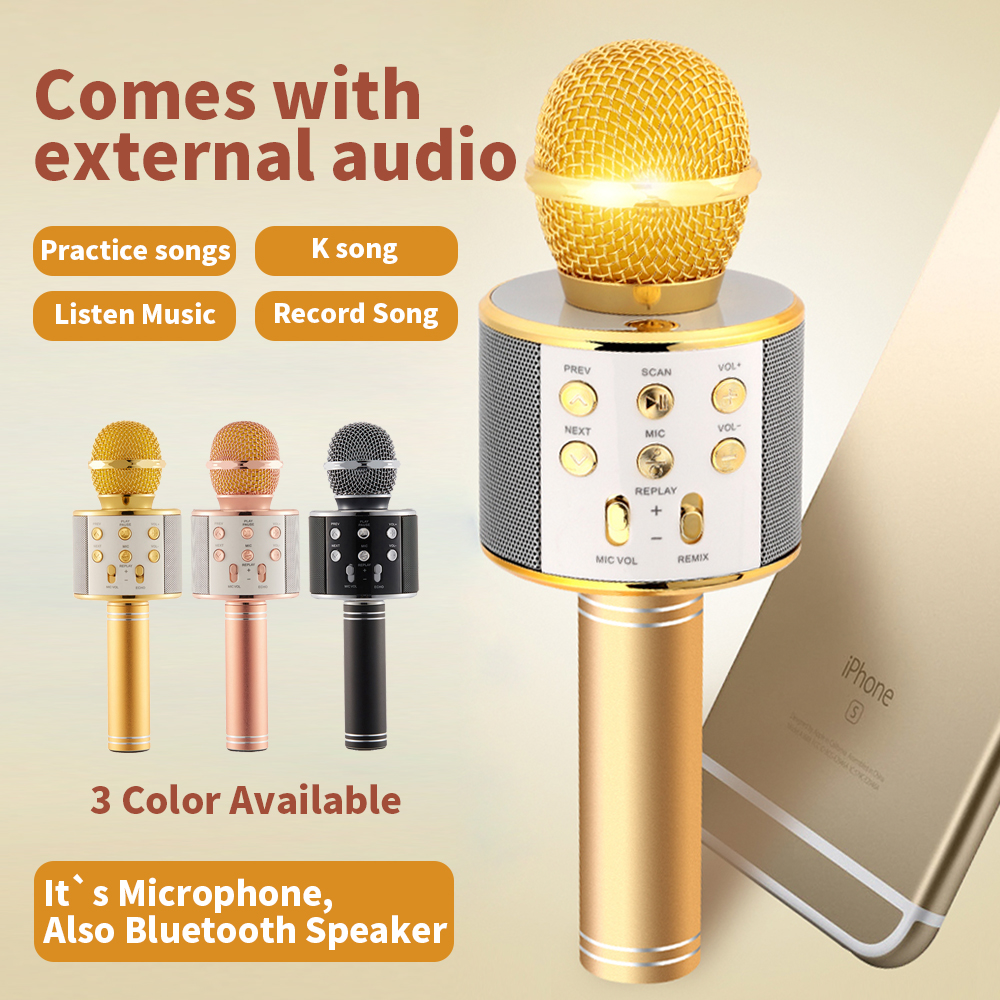 WSTER WS858 Bluetooth Wireless Condenser Karaoke Microphone Mobile Phone Player MIC Music HIFI Speaker Recordfor for iPhone PC