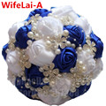 Durable Handmade Royal Blue White Diamond Wedding Bouquet Silk Rhinestones Beads Holding Flowers Bridal Bridesmaid Bouquet W224
