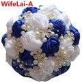 Durable Hecha A Mano Azul de la Boda de Diamante Blanco Perlas Rhinestones Con Flores de Seda Ramo de Novia Dama de Honor Ramo W224