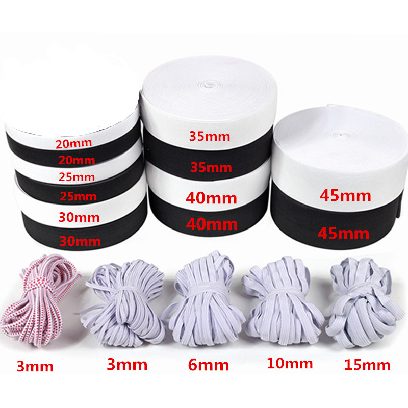 8 /& 13mm Widths 13 metres total White Flat Elastic Sewing Dressmaking Woven 6