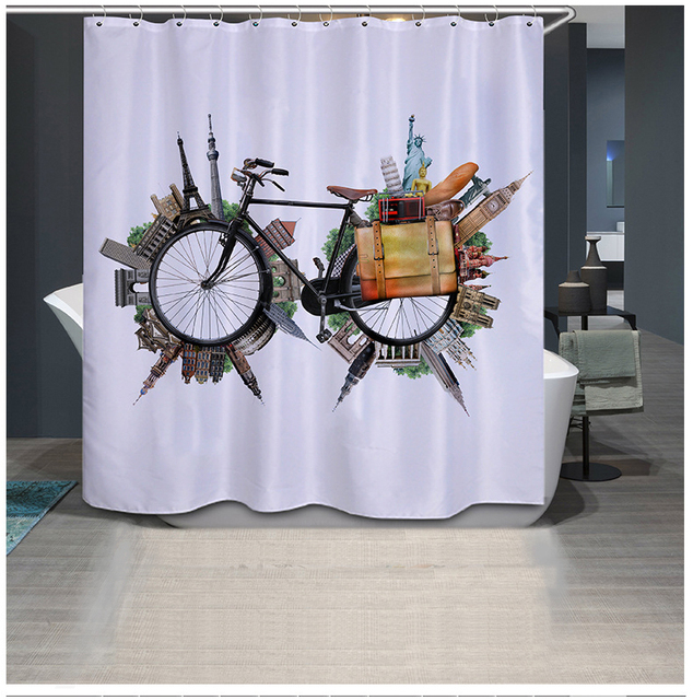 3D Printing Creative Bike Shower Curtains Unique Funky For Bathroom