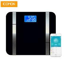 Hot iCOMON 20 datos del cuerpo básculas de peso inteligentes piso Premium grasa porcentaje Digital baño peso corporal báscula Bluetooth APP