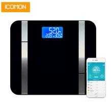 ホット iCOMON 20 ボディデータスマート体重計床プレミアム脂肪率デジタル浴室体脂肪計量スケール Bluetooth アプリ
