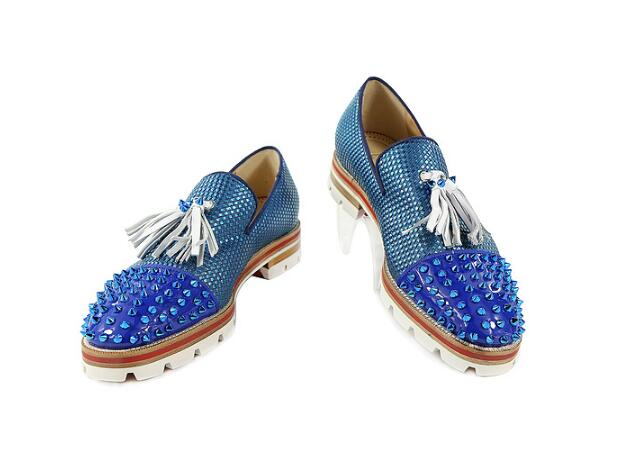 Discreet New Fashion Men Lace Up Loafers Embellished With Rivets And Tassle Blue Lattice Anti-skid Flats Men Party Dress Casual Shoes Formal Shoes Men's Shoes
