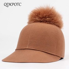 QDKPOTC 2018 New Autumn Winter Wool felt Baseball Caps Equestrian Knight Hats For Women Retro Rabbit Fur Ball Fashion Fedora Hat