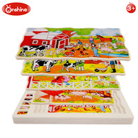 Onshine Wooden Multi layer Puzzle Toys Story Puzzles Wild Farm Animals Early Education and learning Toys for Children Kids