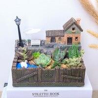 새로운 화분 빛 장식 클래식 목가적 인 화분 냄비 데스크탑 장식 꽃 냄비 정원 용품 홈 장식