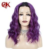 QueenKing волос Синтетические волосы на кружеве парик 250% плотность 1B фиолетовый ombre боб парик шелковистая прямая предварительно выщипать брази