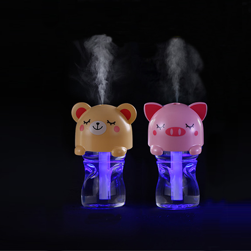 280ML Cute Animals Bottle Air Humidifier USB Electric Mist Maker With Night Light