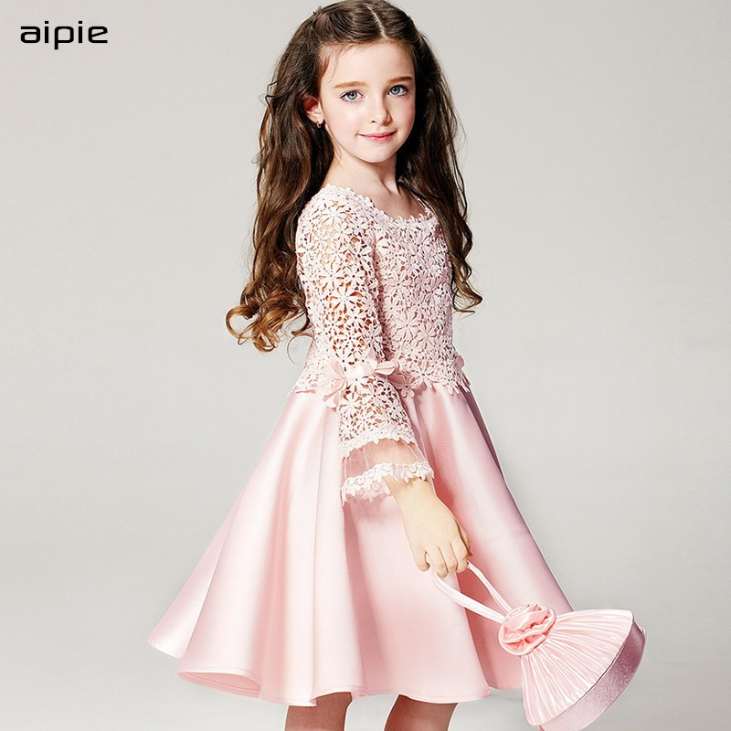 Promotion New Style Children Girls Dresses Brand Fashion Appliques Ball Gown Party Kids Dresses For 3 11 Years
