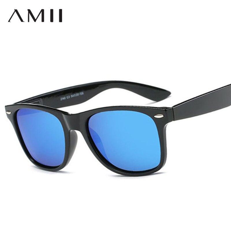 AMII Fashion Unisex Square Vintage Polarized Sunglasses mens Polaroid Women Rivets Metal Design Retro Sun glasses gafas oculos