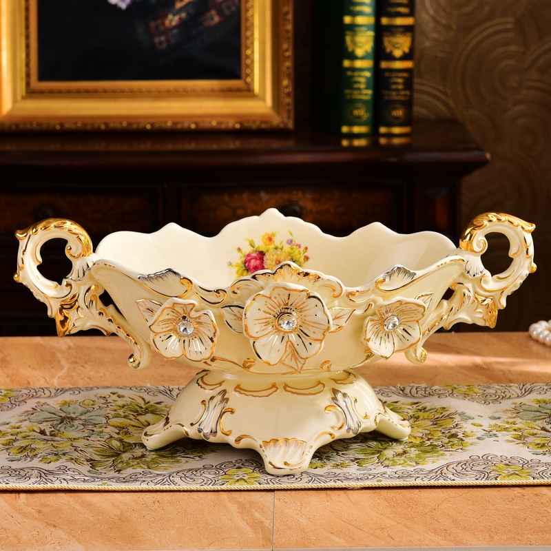 High End Decorative Living Room European Style Luxury: European Luxury High Grade Ceramic Fruit Compote Suite