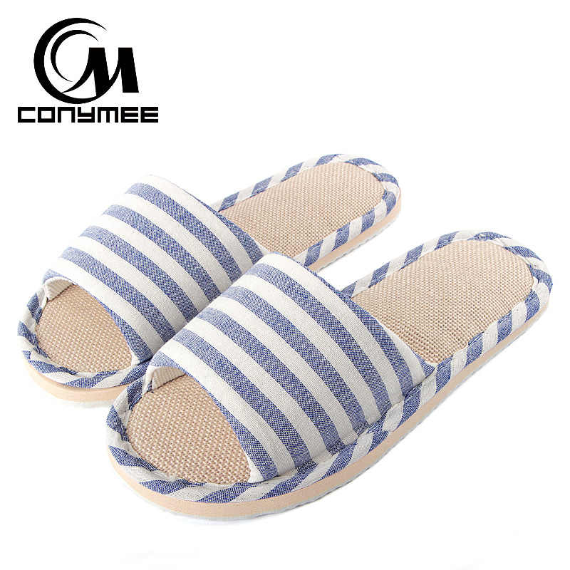 97e13ed5bb36d8 CONYMEE 2018 Summer Flats Shoes Woman Casual Sneakers Home Slippers Linen Beach  Sandals Flip Flops Striped