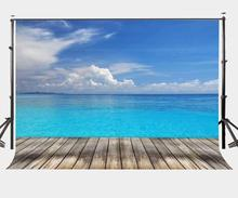 150x220cm Vast Deep Blue Sea Backdrop Sky White Cloud Wooden Floor Photography Background Summer Theme Outgoing