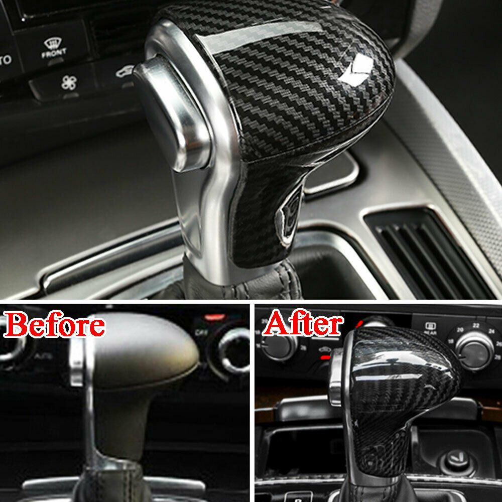 Pour Audi A3 A4 A5 A6 A7 Q5 fibre de carbone intérieur pommeau de levier de vitesse couvercle garniture décor