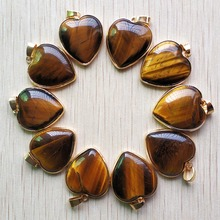 wholesale 10pcs/lot 2019 New good quality natural tiger eye stone gold side heart pendants 25mm for jewelry making free shipping free shipping f ord focus remote control head case 10pcs lot with good quality