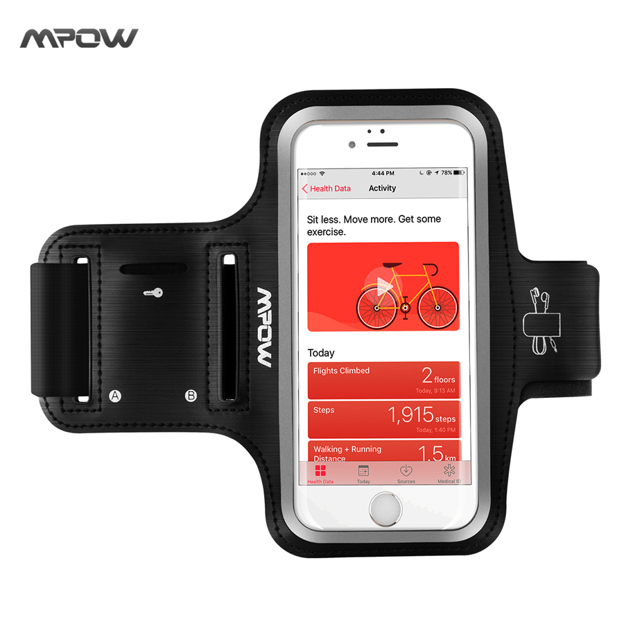 Mpow Running Sport Armband for iPhone 7 Adjustable Sweat-proof Case w Earphone and Key Holder for iPhone 7 etc 5.1'' Smarphones