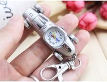 New Fashion Vintage silver Punk Steampunk Quartz Pocket Watch Cute Lovely Car Auto Pendant Key chain Clock