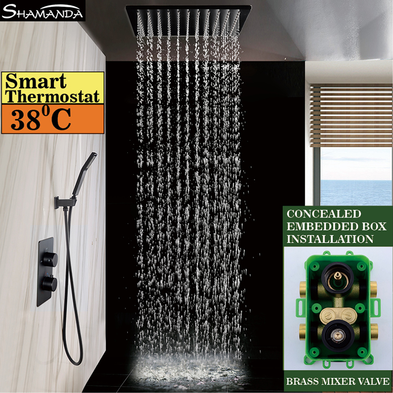 Brass Wall Mounted Black Thermostatic Shower Set Faucets Ceiling/Wall Shower Arm Handheld With 8/10/12/16 Inch Rain Shower Head china sanitary ware chrome wall mount thermostatic water tap water saver thermostatic shower faucet