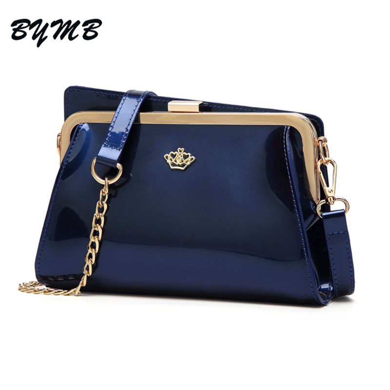 9eb77287222f 2018 brand women messenger bags Fashion Crown patent leather handbag new  lady small shoulder bags Bridge