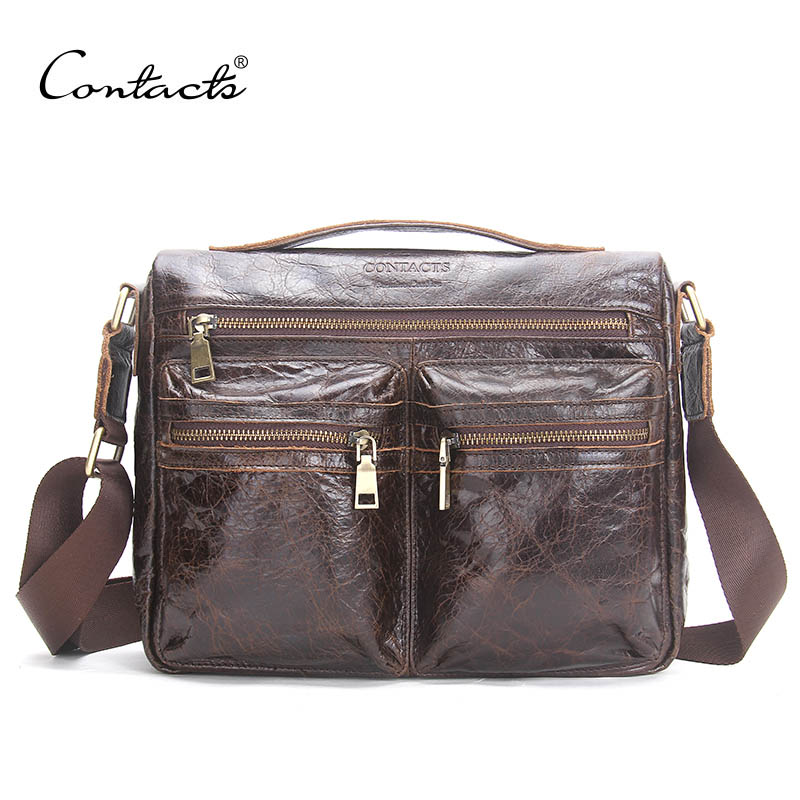 ФОТО CONTACT'S Brand 2017 Hot Genuine Crazy Horse Cowhide Leather Men Messenger Bag High Quality Shoulder Bag For Vintage Travel Bag
