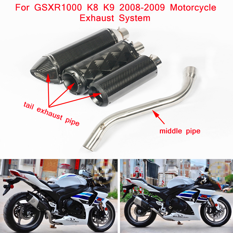 GSXR1000 K8 K9 Motorcycle Stainless Steel Middle Connecting Pipe Slip On for Suzuki GSXR1000 2008 2009 in Exhaust Exhaust Systems from Automobiles Motorcycles