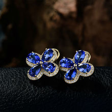 New 15.12Ct Solid 14kt Yellow Gold Diamond Pear 7x9mm Tanzanite Wedding Lucky Clover Earrings WE058