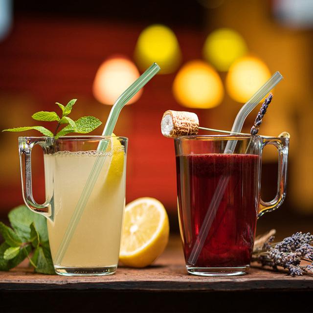 Cute Reusable Eco-Friendly Glass Drinking Straws Set