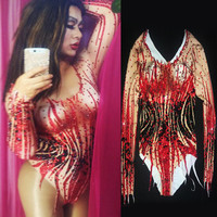 Christia Bella Sexy Crystals Stage Bodysuit Women Pole Dance Leotard Long Sleeve Stretch Jumpsuit Halloween Cosplay Costumes