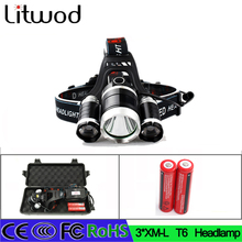 05 z55 high quality 3T6 headlight 9000LM 3x XM-L T6  LED Headlight 9000 Lumen battery led Head Lamp Flashlight Torch Lanterna