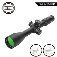 LUGER 5 25x50 FFP Conquest Rifle Scope Side Parallax Tactical Optics Hunting Scopes R/G/B Illuminated Reticle Rifle Gun Scope