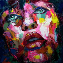 Palette knife painting portrait Face Oil Impasto figure on canvas Hand painted Francoise Nielly 15-8