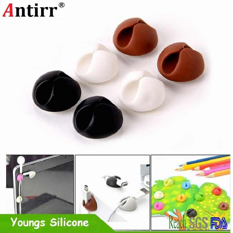 Round Cable Holder Protector Management Device Organizer Finishing Desktop Plug Silicone Wire Retention Clips Power Cord Winder