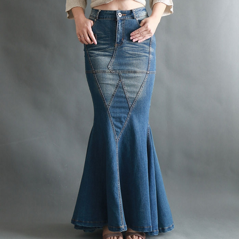 Image 2 - Big Fish Tail Denim Skirt Women Long Skirt Floor Length Patchwork Mermaid Trumpet Empire High Waist Jeans Stretchy J92792-in Skirts from Women's Clothing