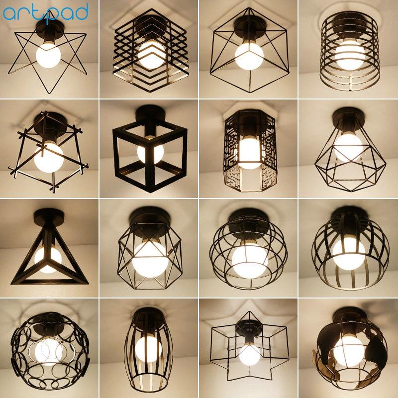 Vintage Loft Black Iron Cage Led Ceiling Lamp Nordic Metal Light For Kitchen Bedroom Balcony Asile Bar E27 Ceiling Light Fixture
