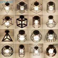 Vintage Loft jaula de hierro negro lámpara de techo Led Luz de Metal nórdico para cocina dormitorio balcón Asile Bar E27 lámpara de techo