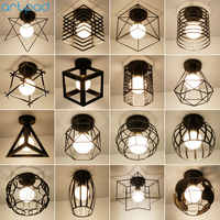 Vintage Loft Black Iron Cage Led Ceiling Lamp Nordic Metal Light for Kitchen Bedroom Balcony Asile Bar E27 Ceiling Light Fixture