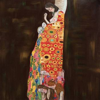 High quality Oil painting Canvas Reproductions Hope II (Full View)  by Gustav Klimt Painting hand painted