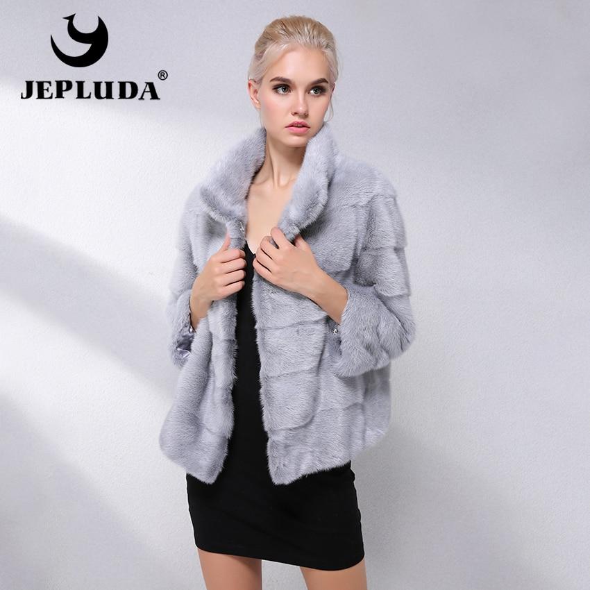JEPLUDA Real Mink Fur Coat Women Winter Standing Collar Short Real Mink Fur Jacket Winter Women Natural Fur Coats Women's Winter