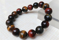 Free shipping 100% natural acura tiger eye Shi Yu beads bracelet with 12.3 MM