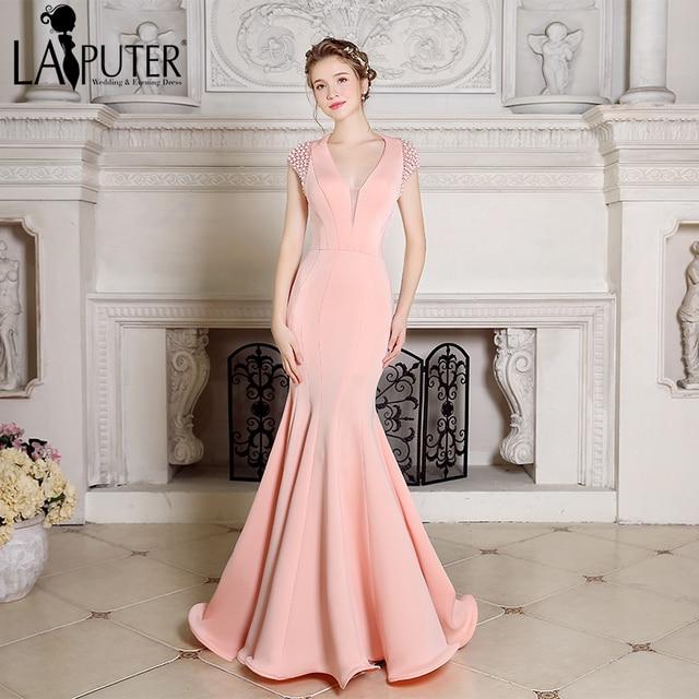 b39048ce9 2017 Laiputer Sexy Sereia Rosa Pêssego Pérolas Backless Elegante  Surpreendente Vestido De Festa Longo Vestidos de